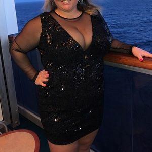 Mesh/Sequin Deep V Dress